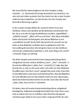 """Gedichtanalyse - """"Neue Liebe, neues Leben - Schulhilfe.de"""