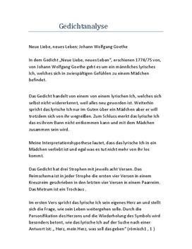 Neue Liebe Neues Leben Goethe Analyse