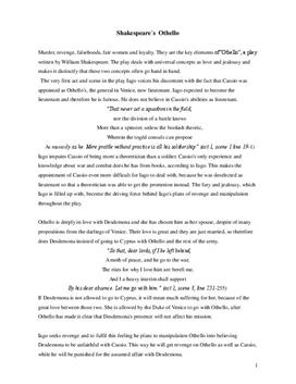 Analyse und Interpretation von Othello