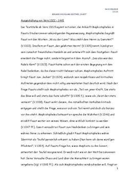 Analyse Von Faust I Vers 1322 1445 Schulhilfede