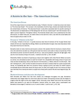 raisin in the sun american dream The american dream in a raisin in the sun 7 pages 1755 words december 2014 saved essays save your essays here so you can locate them quickly.