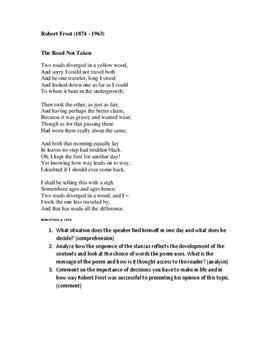 """Analyse und Zusammenfassung von """"The Road not Taken"""""""