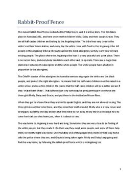 rabbit proof fence analysis essay Rabbit proof fence essaysphillip noyce's 'rabbit proof fence' expresses many of the values and attitudes regarding respect and dignity @example essays rabbit proof fence 2 pages 621 words.