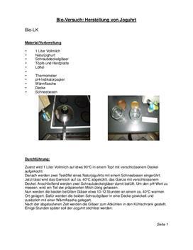 Referat: Versuch zur Herstellung von Joghurt