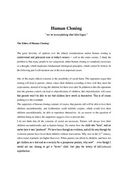 the important points in the controversial ethical issue of human cloning View and download human cloning  human genetics is a modern issue  the patent office can potentially issue patents on any number of controversial or ethical.