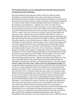 Referat - deutsche Außenpolitik von 1871 bis 1918