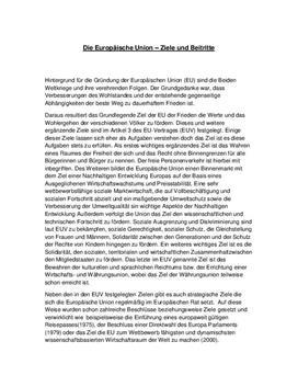 Referat über die Ziele und Beitritte der EU