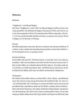 "Referat: Bildanalyse von ""Nighthawks"""