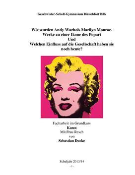 """Facharbeit über Ikone am Beispiel von Andy Warhols """"Marilyn Monroe"""""""