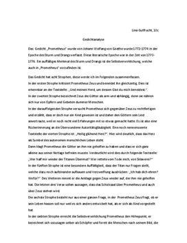 """Analyse - Gedichtanalyse von """"Prometheus"""""""