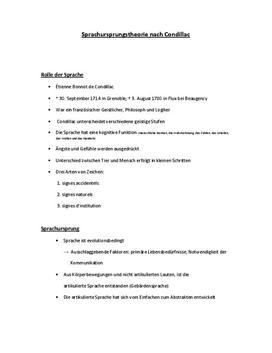 Condillac - Referat in Deutsch