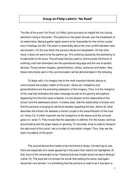 """Analyse - """"No Road"""" von Philip Larkin"""