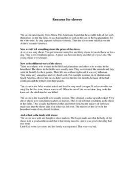 Reasons for slavery - Referat im Fach Englisch