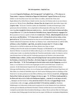 Schweigeminute Sigfried Lenz Inhaltsangabe Und Analyse Schulhilfede