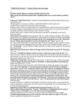 """Analyse und Charakterisierung zu """"Dead Poets Society"""""""