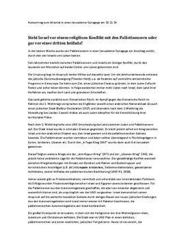 Referat: Konflikt zwischen Israel und Palästina