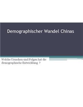 Referat - Demographischer Wandel China