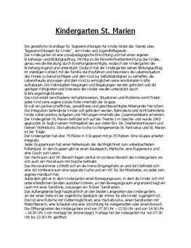 Kindergarten Beschreibung Praktikumsmappe