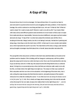 "Analysis of ""A Gap of Sky"""