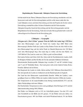 Referat über Äthiopien - Entwicklungsland
