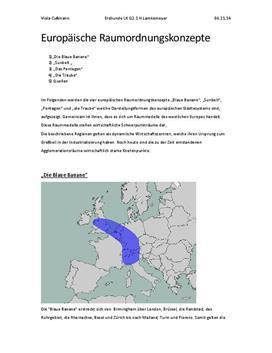 Europäischen Raumordnungskonzepte / Die blaue Banane/ Sunbelt/ das Pentagon/die Traube