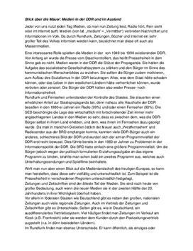 Referat - Medien in der DDR