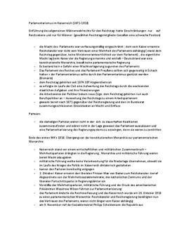 Referat - Parlamentarismus im Kaiserreich