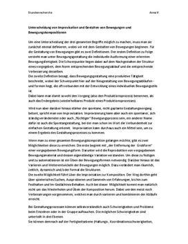 Referat - Unterscheidung von Improvisation und Gestalten von Bewegungen und Bewegungskompositionen