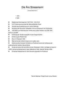Ära Stresemann - Zusammenfassung