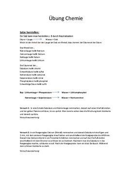 Facharbeit Chemie - Salze (Herstellung der Salze), Kochsalz
