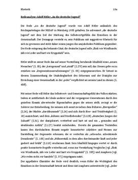Redeanalyse Adolf Hitler ''An die deutsche Jugend''