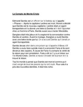 Facharbeit - Le Compte de Monte-Cristo