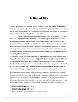 """essay a gap of sky by Free essay: english essay – """"a gap of sky"""" amalie thomsen introduction: the title of the short story is """"a gap of sky"""" and is written by anna hope in 2008."""