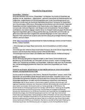 Klausurvorbereitung - Räumliche Disparitäten