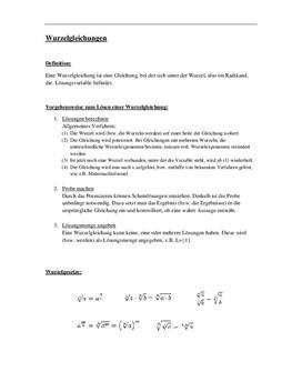 Klausurvorbereitung - Wurzelgleichungen