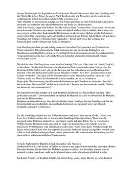 Klausurvorbereitung - Bentham. Utilitarismus