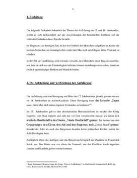 Die historischen Einflüsse auf die zentralen Gedanken der Aufklärung - Facharbeit