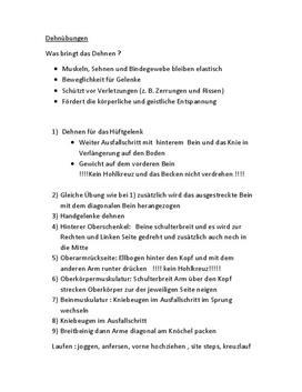 Dehnübungen - Referat