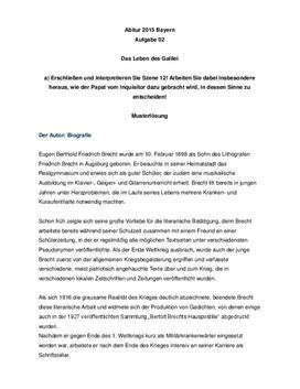 Das Leben des Galilei Szene 12 | Musterlösung