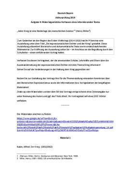 Einführenden Vortrag | Krieg und Expressionismus | Lösungsvorschlag