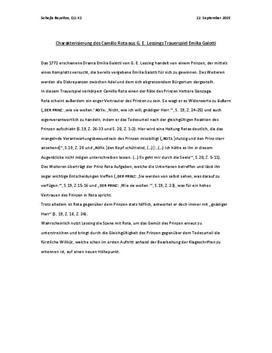 Charakterisierung des Camillo Rota aus G. E. Lessings Trauerspiel Emilia Galotti