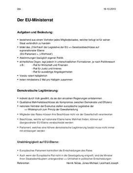 Ministerrat der EU - Facharbeit