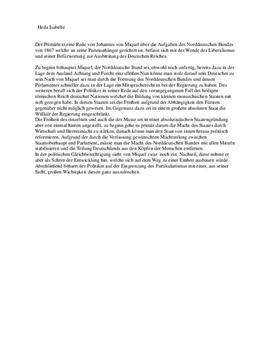Aufgaben des Norddeutschen Bundes - Quellenanalyse