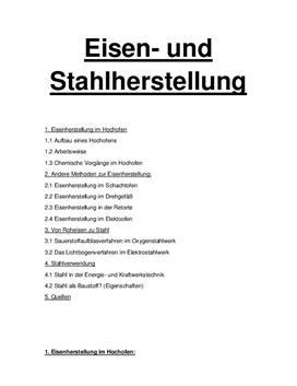 Eisen- und Stahlherstellung - Referat
