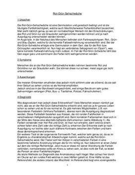 Rot Grün Sehschwäche - Referat