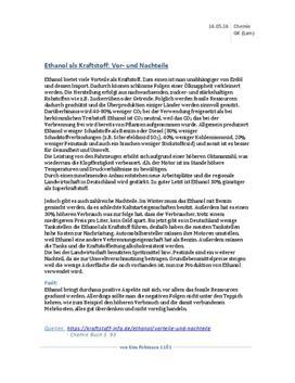 Vorteile und Nachteile von Ethanol als Kraftstoff - Referat